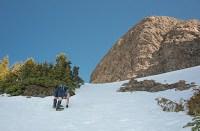 Phil quickly manhandling his way up the slope on his way to Alexandra Peak's summit Ridge
