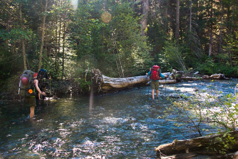 The group crossing the Elk River on our way to Elkhorn Mountain.