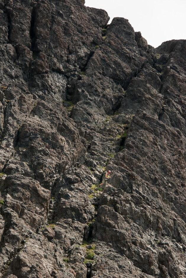 Lisa descending the base of the Northwest Ridge route on Elkhorn Mountain