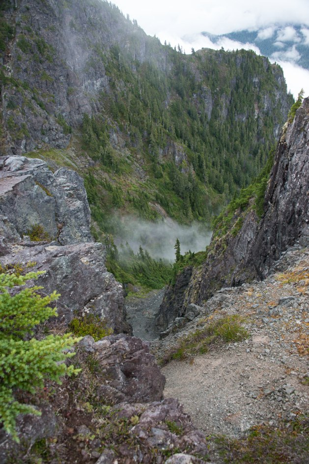 Approaching he edge of the ridge: a view down the gully.