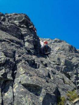 climbing up the toward the summit of Bonanza Peak