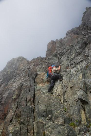 Climbing out of the notch toward Mount Ashwood in the Bonanza Range
