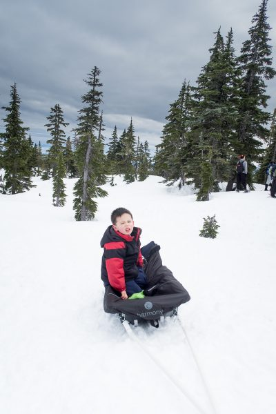 snowshoeing on Vanouver Island, Pulk Sled, Matthew Lettington