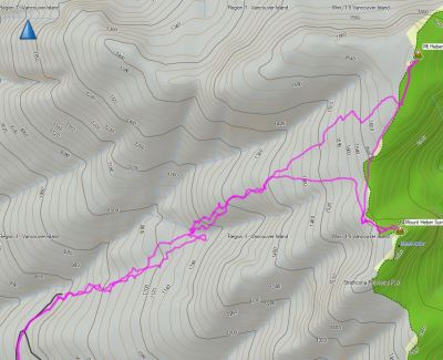map to Mount Heber, GPS route to Mount Heber in Strathcona Park