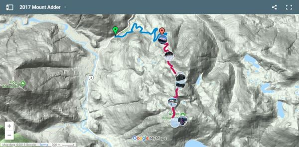 Adder Mountain Route and Map