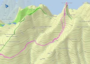 GPS Route and Topo Map for Mount Elliot on Vancouver Island