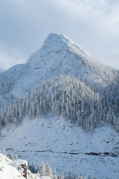 A snowcapped Mount Elliot on Vancouver Island
