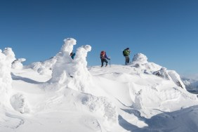 three people snowshoe or hike, to the summit of Mount Elliot on Vancouver Island