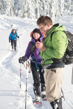 navigating while snowshoeing Mount Elliot, vancouver island, hiking