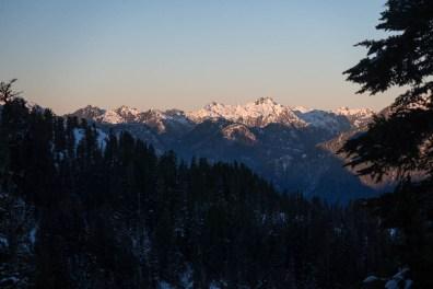 sunrise on the distant mountains: Big Interior, 9 Peaks