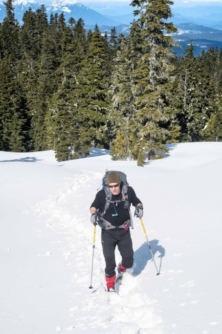 Phil and Israel cresting the sub bump (lookout) on the way to Tyee Mountain in Strathcona Park