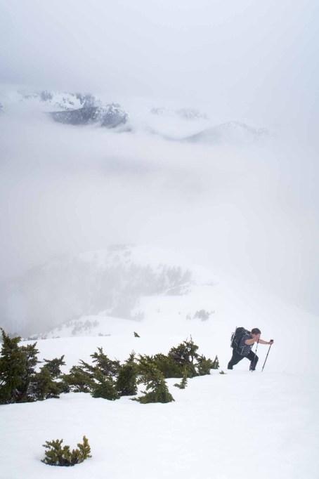 Phil ascending to the Mount Adam's summit ridge.