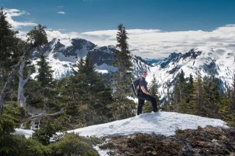 Rick and Colleen cresting the rib to the summit of Mount Sarai -Hiking Mount Sarai in the Genesis Range on Vancouver Island