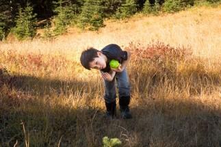 walking is hard work--help me dad. Hiking to Green Mountain