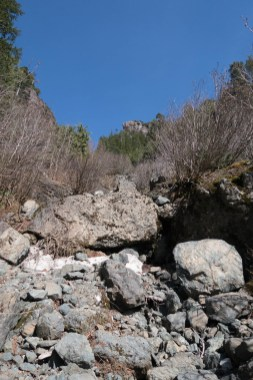 start of the gully, no snow in the lower sections