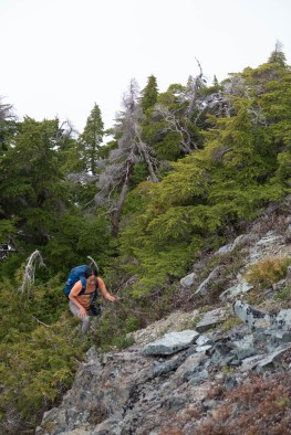 Anne coming up the ramp to the main summit