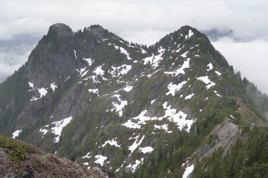Looking south from the main summit along our route