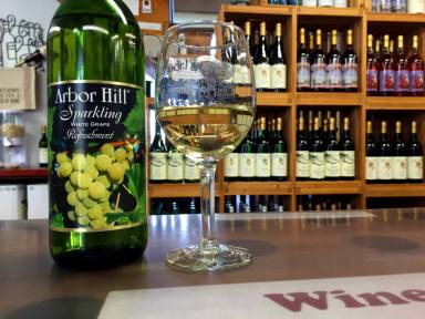 Sparkling White Grape Juice at Arbor Hill Winery in Naples, New York