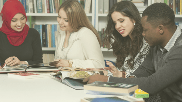 Image: Group of students studying at university library