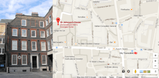 Photograph and location map of Dr Johnson's House in London