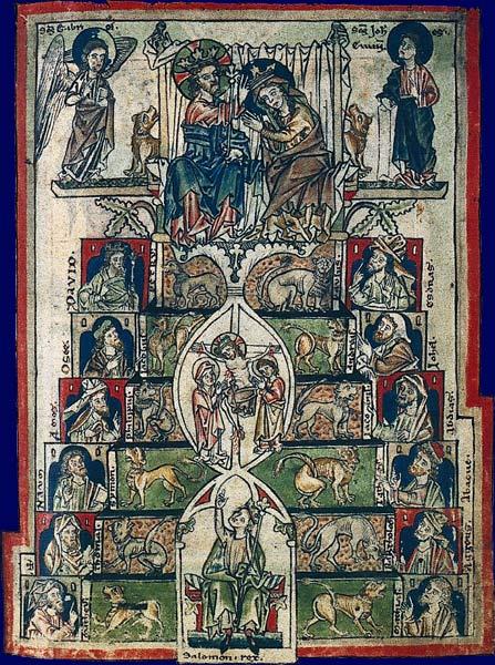 Trône de Salomon avec lions. Psautier cistercien dit de Bonmont.Rhin supérieur, vers 1260 Besançon, Bibliothèque municipale, ms. 54, fol. 9
