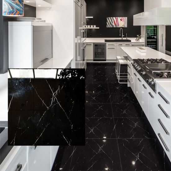 black kitchen floor tiles
