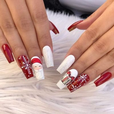 christmas acrylic nails