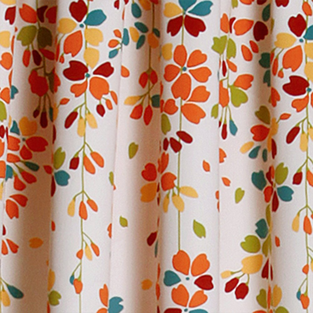 orange and white curtain
