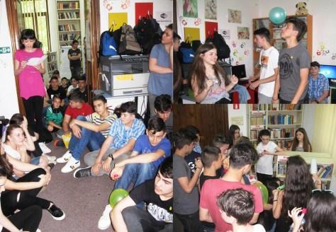 """AZI am fost la BIBLIOTECA - Proiect de promovare a serviciilor bibliotecii la care au participat, alături de copii mai mici, şi 57 adolescenţi cu activităţi interactive, au descoperit diversitatea cărților dintr-o bibliotecă, au inventat personaje originale, au dansat şi au ascultat muzică (aprilie 2016) Biblioteca Judeţeană """"Duiliu Zamfirescu"""" Vrancea"""