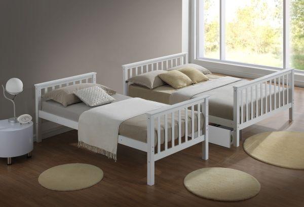 Modern 3 Sleeper White Childrens Bunk Bed Drawers