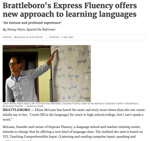Feature Article on Express Fluency in the Brattleboro Reformer