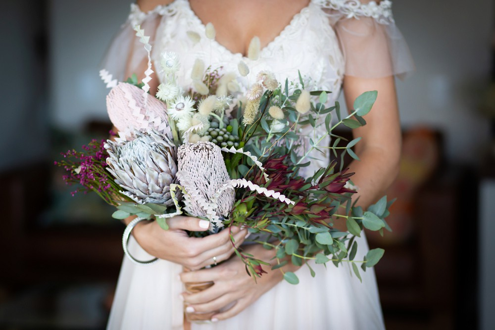 Cherry Glamping Wedding protea bouquet