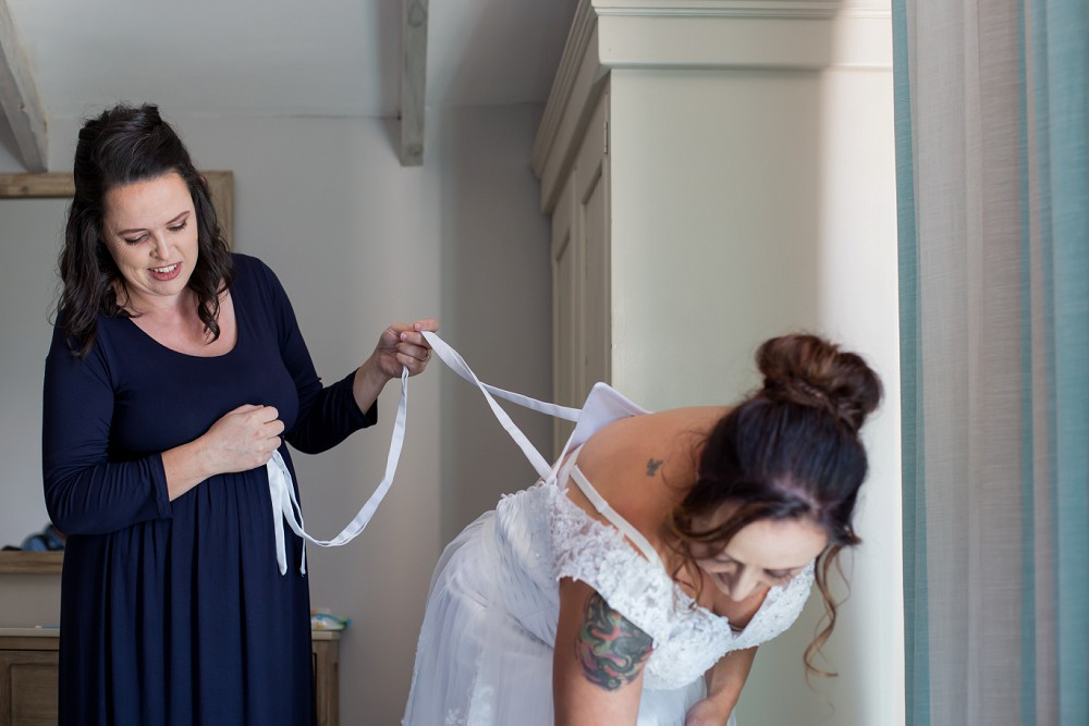 Intimate west coast wedding bride getting ready