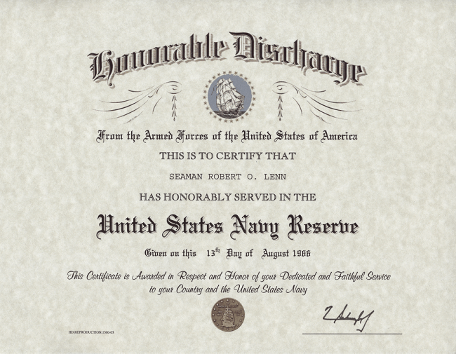Navy Reserve Honorable Discharge Certificate
