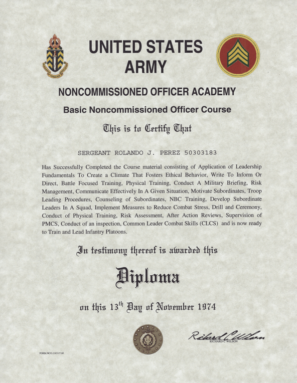 Army. Navy. Air Force and Marine Corps NCO Appointment Certificate
