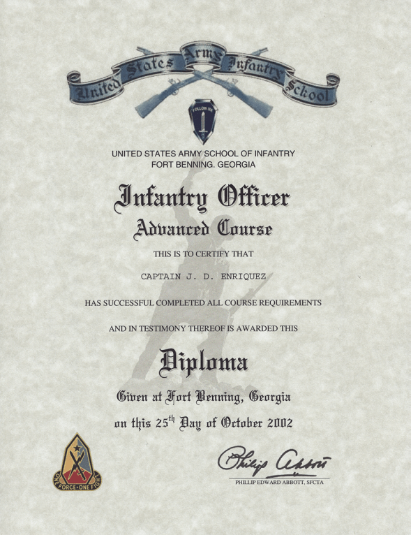 Army Infantry Officer Advanced Course Certificate