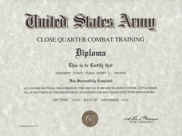 Close Quarter Combat Training Certificate
