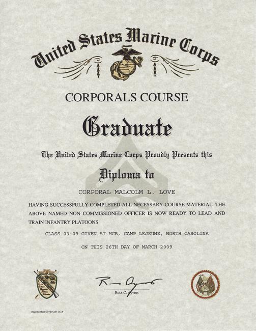 Corporals Course, USMC certificate