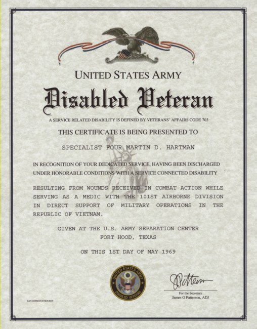 Disabled Veteran Certificate, Army, Navy, Marine Corps