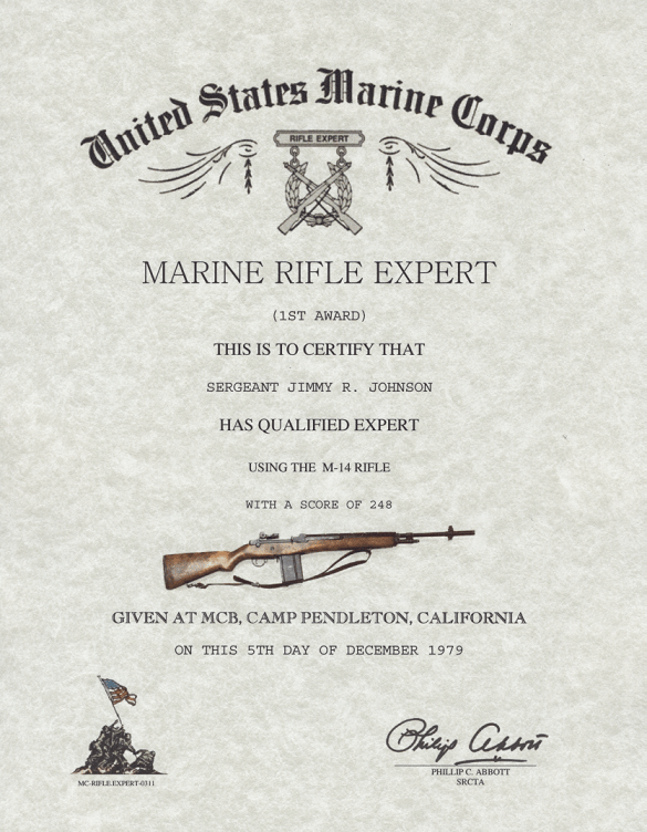 M-14 RIFLE QUALIFICATION Certificate