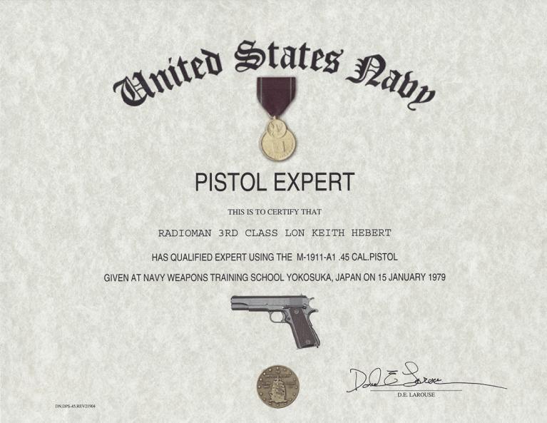 Navy Pistol Expert, Certificate