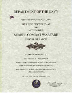 Navy Seabee Combat Warfare Enlisted Badge Certificate
