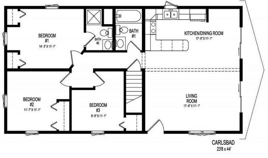 Carlsbad  1056 Square Foot Ranch Floor Plan