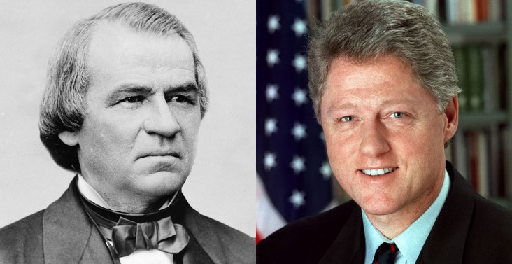 Presidents Andrew Johnson and Bill Clinton