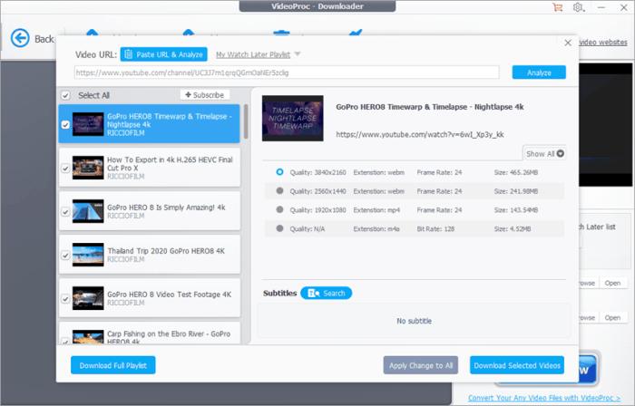 VideoProc Youtube Video Downloader