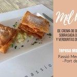 Mil hojas de queso Mahón con sobrasada y miel de Menorca creación del restaurante Passió Mediterrània para Exquisita Menorca
