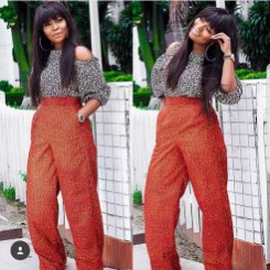 Busayo mixed print palazzo pants and cold shoulder top