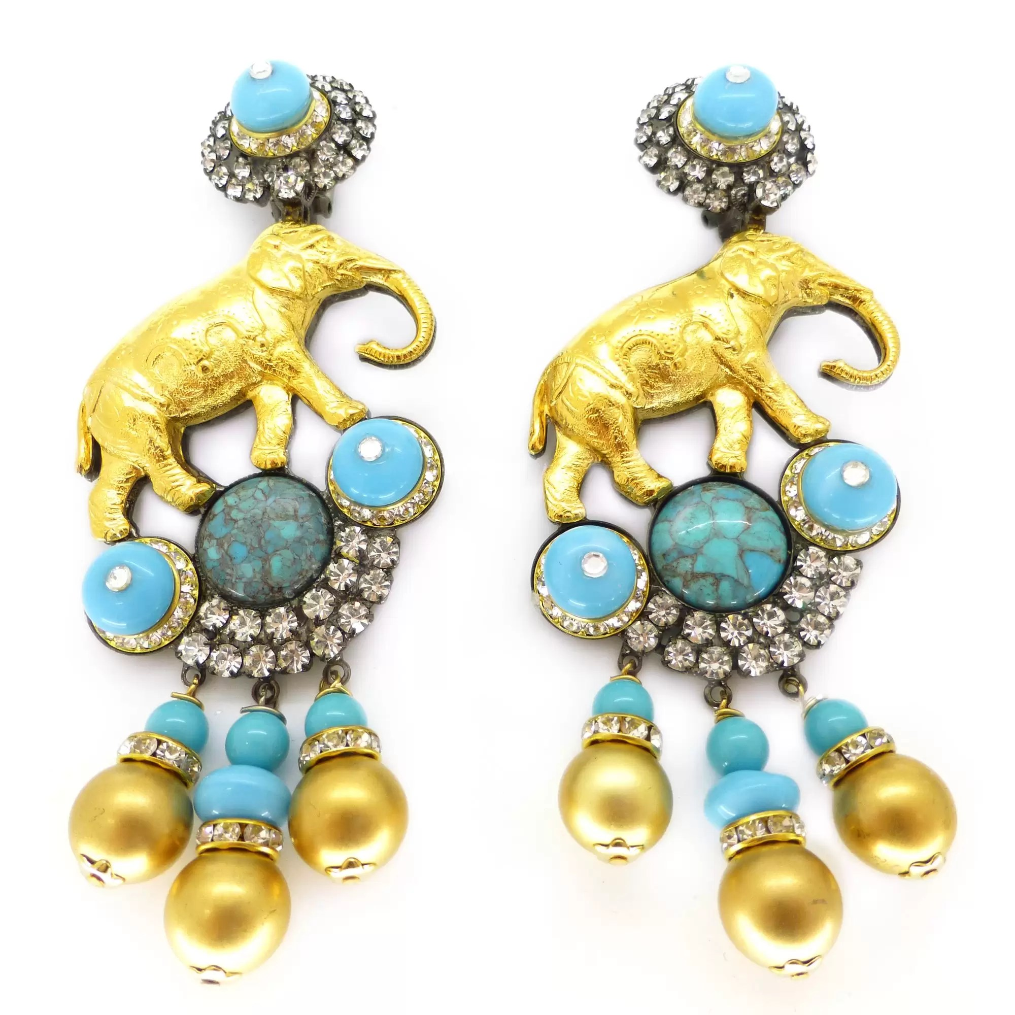 earrings traditional polki antique gold punjabi blue pearl jewellery nice by products
