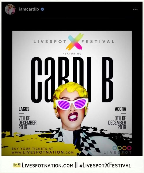 Entertainment News: Cardi B Is Live In Nigeria 1