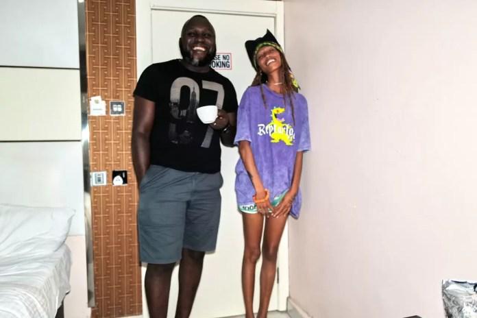 Adesuwa with her friend  in Quarantine